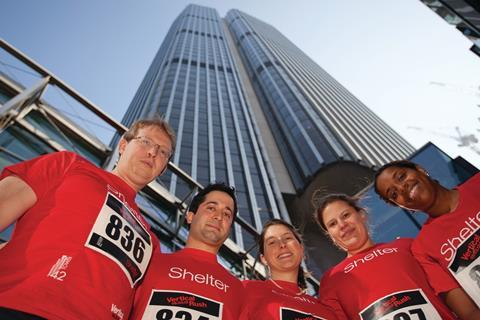 High risers (clockwise from left): law firm Arnold & Porter's team scaled the skyscraper's 920 steps,
